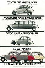 Citroen 2cv Dolly Advert Vintage Retro style Metal Sign, garage, shed