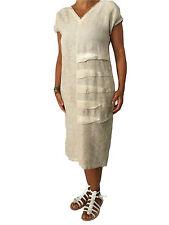 MYLAB vestido mujer beige tinto frío 100% lino MADE IN ITALY ceñido encima