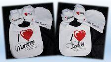 Set Baby Mütze Lätzchen Schuhe Geschenk Erstausstattung Mummy Daddy Best 50 56