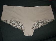 M&S Daisy Lace Cotton Blend No VPL Low Rise Shorts Style Briefs 20 22 Fawn BNWoT