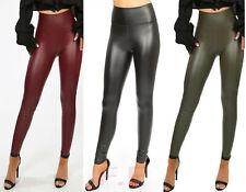 Womens PVC Leather Look High Waist PU Leggings Wet Look Fleece Trousers Pants