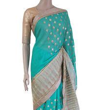 Partito Wear Bollywood Designer oro verde mare chiffon ricamo Abiti da Sposa Saree
