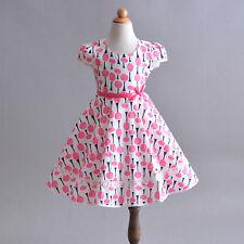 niña rosa Árbol Vestido de algodón de verano 4 5 6 7 8 años