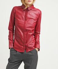 Womens Leather Jacket Red Casual Shirt Lambskin Size XS S M L XL XXL Customize
