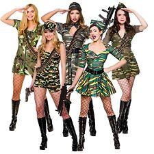 Army Girl Costume Camo Khaki Soldier Uniform Fancy Dress Womens Outfit Ladies