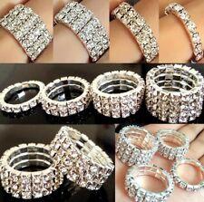 12pcs Elastic Resizable 1/2/3/4 Row Zircon CZ Crystal Wedding Engagement Rings