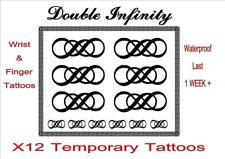 DOUBLE INFINITY temporary TATTOO X 12  Lg WRIST + FINGER  tattoos LAST 1WEEK +