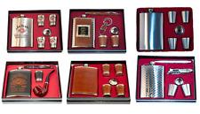 Hip Flask & Shot Glasses Gift Set Stainless Steel Jim Beam Jack Daniels Funnel