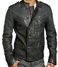 Men's Genuine Lambskin Real Leather Motorcycle Jacket Slim fit Biker Jacket JM60