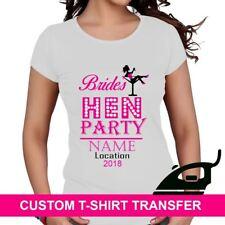 Custom Design Name Hen Party Brides Drinking Team Bride Iron On Transfer T Shirt