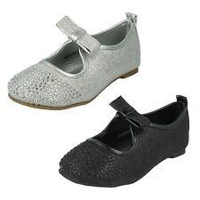 filles h2306s à sequins argent ou noir à enfiler chaussures plates par Spot On