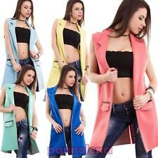 Chaleco de mujer chaqueta sin cierre mangas suéter bolsillos colorido CC-1364