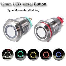Push 3V 5V 9V 12V 24V 110V 220V 12mm Metal Button Switch Momentary/Latching LED