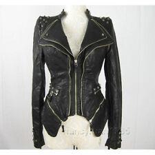 New Womens Punk Spike Studded Shoulder PU Leather Jacket Zipper coat Size S-XL