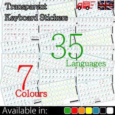 Klare transparente durchschauen Tastaturaufkleber in 35 Sprachen und 7 Farben!