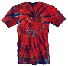 Batik T-Shirt, Herren Kurzarm Tie Dye Shirt - dunkelrot Spirale
