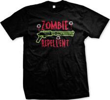 Zombie Repellent Shotgun Bullet Holes Undead Funny Mens T-shirt