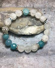 Handmade Healing Quartz Stone Stretch Bracelet With Swarovski Elements USA