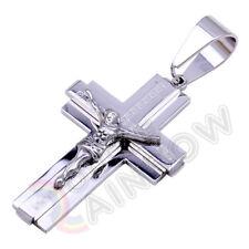 P04 Men Stainless Steel Gold Silver Black Jesus Cross Pendant