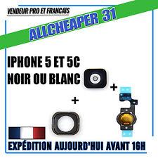 BOUTON HOME IPHONE 5 5C NOIR ou BLANC + MEMBRANE+ Nappe Home avec pin métal