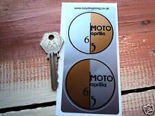 APRILIA MOTO 6.5 Philippe Starck Motorcycle Stickers Round 54mm Pair Orange