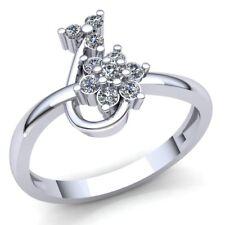 0.25carat Diamante Talla Redonda Floral Mujer Aniversario Anillo de Compromiso