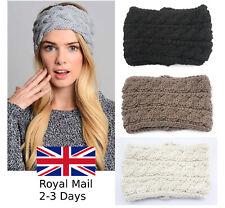 Women Ladies Winter Crochet Knitted Wool Headband Hairband Earmuffs