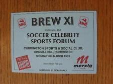 Billete De 08/03/1993: Deportes de fútbol Celebridad Brew XI Foro, cubbington Deportes y