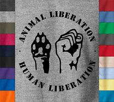 ANIMAL LIBERATION Front T-Shirt Peta Right Vegetarian Vegan Earth Crisis ALF Tee