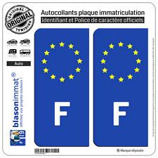 2 Stickers autocollant plaque immatriculation : F France Identifiant Européen