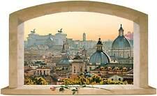 Sticker Trompe L'oeil Adesivo Finestra sulla città di Roma