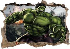 Marvel Avengers Super Heros Hulk 3d Smashed Wall View Sticker Poster Vinyl Z6