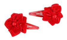 Zest rouge noël sleepie clips cheveux avec velours rouge fleur