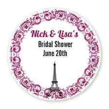 Paris Eiffel - Round Personalized Bridal Shower/Wedding Sticker Labels 6 sizes