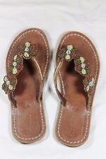 Kenyan Handmade Ladies Leather Beaded Sandals Slip-Ons Flip-Flops FREE POSTAGE