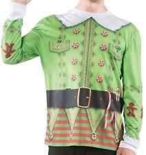 Faux Real Christmas Elf Holiday Xmas Santa Helper Mens Long Sleeve Costume Shirt