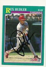 REX HUDLER 1991 SCORE SIGNED # 589 CARDINALS