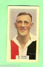 1930 VICTORIAN FOOTBALLERS CARD - BDV  CIGARETTES, #37  S. KING, ST KILDA