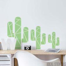 Geometric Cactus STENCIL Home Wall Decor Kids Bedroom Nursery Stylish Reusable