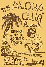 Aloha Club Vintage Tiki Bar Matchbook Art T-Shirt Reproduction.