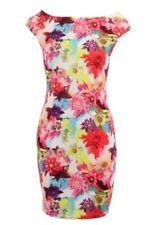 Femmes Multicolore Sans Manche Extensible Moulant Imprimé Floral Robe Courte