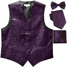 New Men's Paisley Tuxedo Vest Waistcoat & necktie & Bow tie & Hankie dark purple