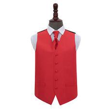 DQT Solid Check Red Wedding Waistcoat Cravat Hanky Cufflinks