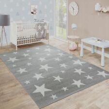 Moderna Alfombra Pelo Corto Estrellas Habitación Infantil Estampado Gris Blanco