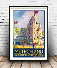 Metroland, British Empire Exhibition magazine cover poster reproduction.