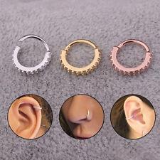 Hinged Septum Hanger Rhinestone Daith Nose Ring Hoop Cartilage Jewelry BS