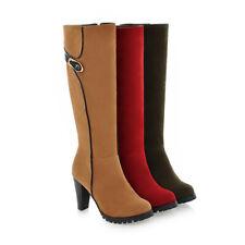 Women Knee High Boots Block High Heel zip Party Round Toe Classic Shoes TXZ0534