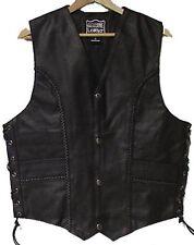 Genuine Cowhide Leather Biker's Vest Black # 9692 CAN
