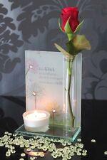 Deko Teelichthalter Kerze Teelicht Vase aus Glas, Blumen, Glitzer Leuchter 17cm