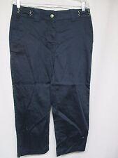 NWOT Dean St. Troper Women's Capris Cropped  Navy Comfort Waist Pants    S7
